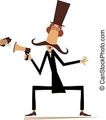 Man, megaphone and news isolated illustration - Cartoon ...