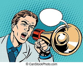 man megaphone policy promotion pop art retro style....