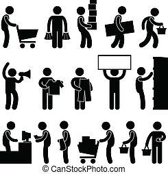 man, mensen, boodschappenwagentje, rij, verkoop