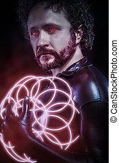 man, met, blauwe , neon belicht, de toekomst, strijder, kostuum, fantasie, soldaat, rood, neon