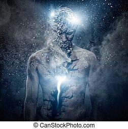 man, met, conceptueel, geestelijk, lichaam kunst