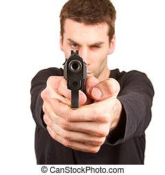 man, met, een, geweer
