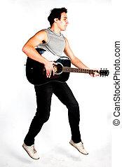 man, met, een, gitaar