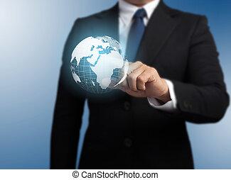 man, met, een, globaal, technologie, achtergrond, met, de, planeet land