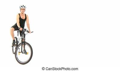 man, met, fiets