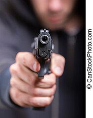 man, met, geweer, gangster, brandpunt, op, de, geweer