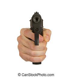 man, met, geweer, gangster