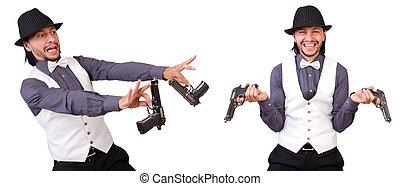 man, met, geweer, vrijstaand, op, de, witte