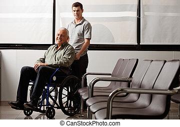 man, met, invalide, grootvader