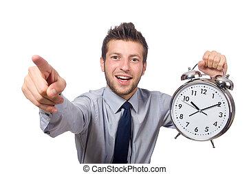 man, met, klok, het proberen, tegemoet, de, deadline,...