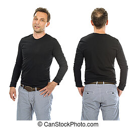 man, met, leeg, black , lange mouw, hemd