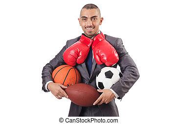 man, met, sporten uitdossing, vrijstaand, op, de, witte