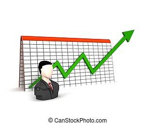 man, met, winst, grafiek