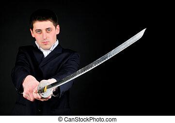 man, met, zwaard