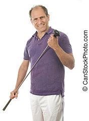 man middle age golfer wood club