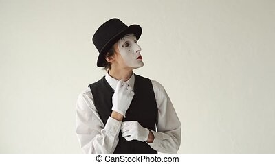 man MIME shows idea on white background