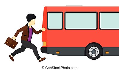 Man missing bus. - Latecomer man running along the sidewalk...