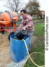 Man mixing cement