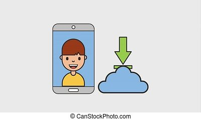 man mobile cloud storage download share video favorite net...