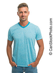 Man model clothes shop. Menswear and fashionable clothing. Man calm face posing confidently white background. Man looks handsome in casual shirt. Guy with bristle wear casual outfit. Fashion concept