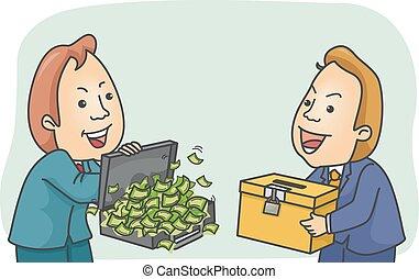 Man Money Exchange Ballot Box