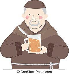 Man Monk Beer Illustration