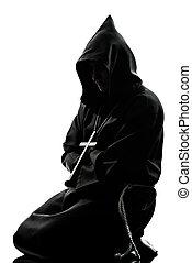 man, monnik, priester, silhouette, biddend