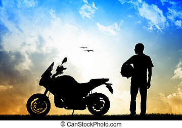 motorcyclist - man motorcyclist silhouette