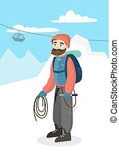 Man mountain climbing.