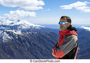 Man mountain winter clothes