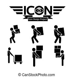 Man Moving Box Icon