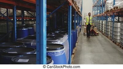Man moving boxes in a warehouse 4k - Full length front view ...