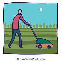 Man mowing a lawn.
