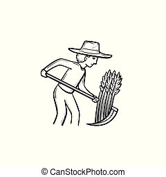 Man mowing grass hand drawn sketch icon.