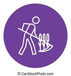 Man mowing grass with scythe line icon.
