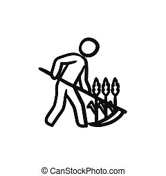 Man mowing grass with scythe sketch icon.