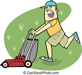 Man Mowing Lawn - This man is happily mowing his own lawn or...