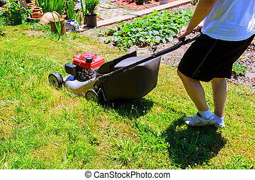 Man mowing the lawn with blue lawnmower in summertime closeup
