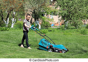 Man mowing the lawn with lawnmower