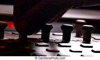 man musician brings music mixer music studio remote - man...