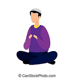 man muslim sitting cross legged with traditional clothes on ...