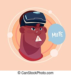 Man Mute African American Male Emoji Wearing 3d Virtual Glasses Emotion Icon Avatar Facial Expression Concept