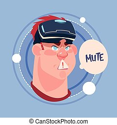 Man Mute Male Emoji Wearing 3d Virtual Glasses Emotion Icon Avatar Facial Expression Concept