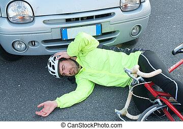 man, na, fiets, het pijn doen, ongeluk