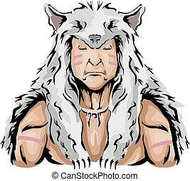 Man Native American Hunter Wolf Illustration