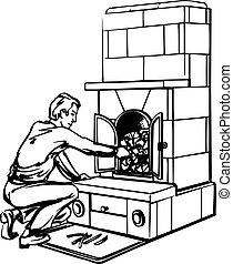 Man near fireplace - Man putting wood in fireplace on white ...