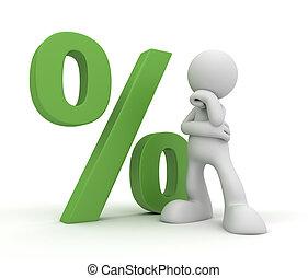 man near percentage sign concept 3d illustration