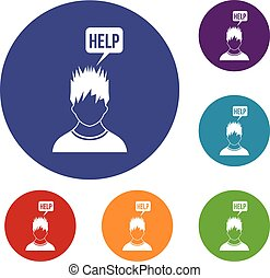 Man needs help icons set