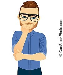 Man Nervous Anxiety Expression - Young nervous man with hand...