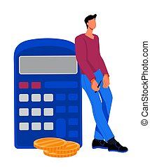 Man next to calculator an illustration for accounting and finance, flat vector.